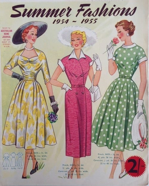 שמלות פרחוניות המאפיינות את אופנת שנות ה- 50