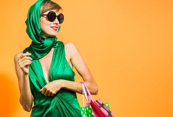 שמלה בד ירוק אופנה